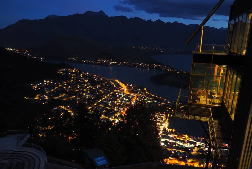 Queenstown by night from top of Skyline Gondola