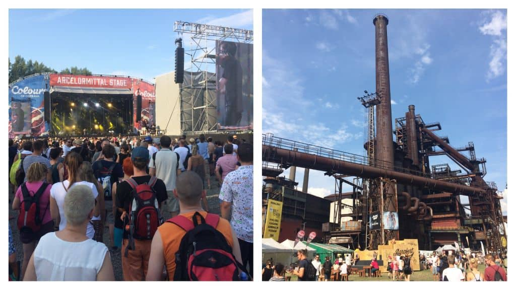 Collage image of stage and rusted mining plant at Colours of Ostrava, Courtesy of Travel Geekery