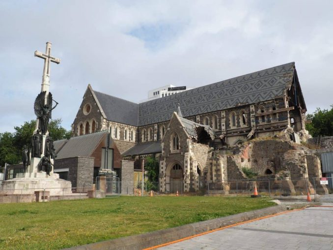 Christchurch Cathedral still damaged by the 2011 Earthquake
