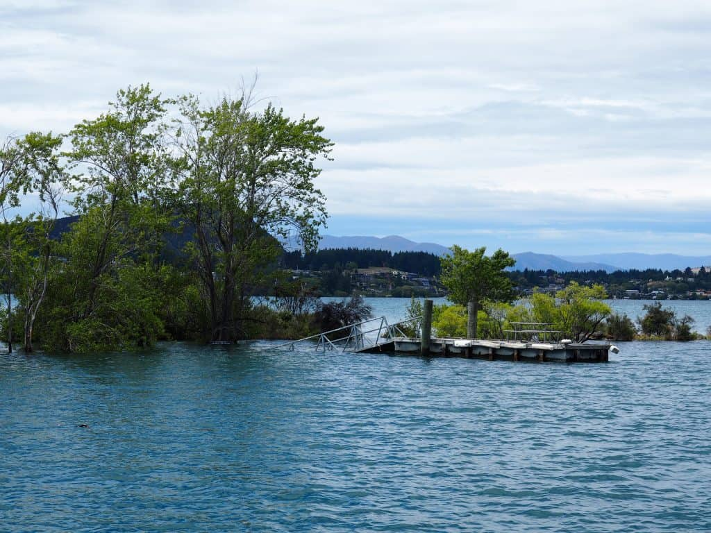 the dock at Ruby Island partially underwater, Lake Wanaka