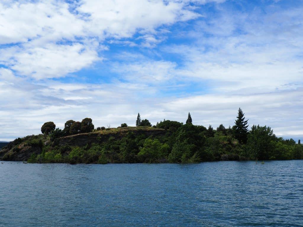 Ruby Island in Lake Wanaka, New Zealand