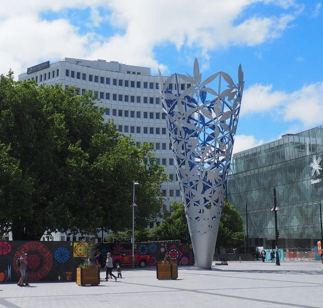 Sculpture named Chalice in Cathedral Square Christchurch