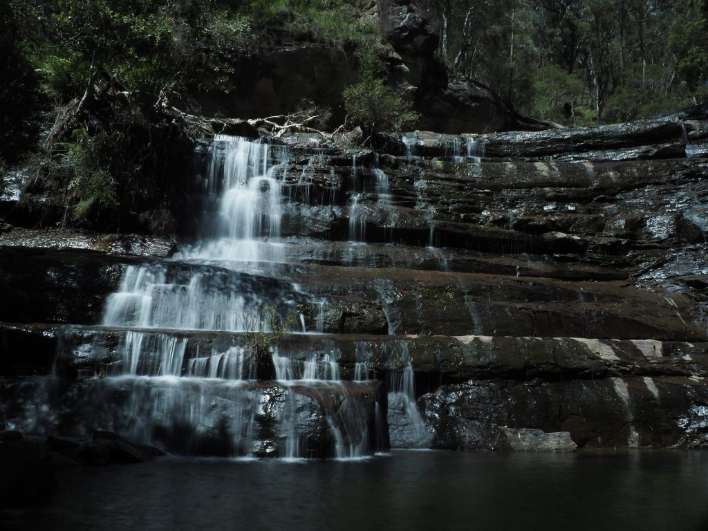 Victoria Cascades, medium sized cascade waterfall with swimming hole at the botto in Mount Victoria