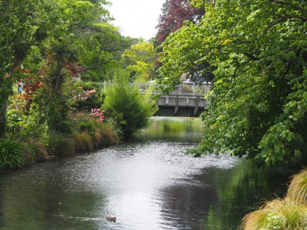 The Avon River through Christchurch on New Zealands South Island