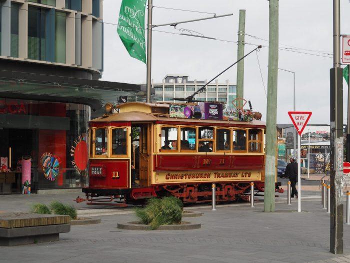 Vintage hop on hop off tram in Christchurch New Zealand