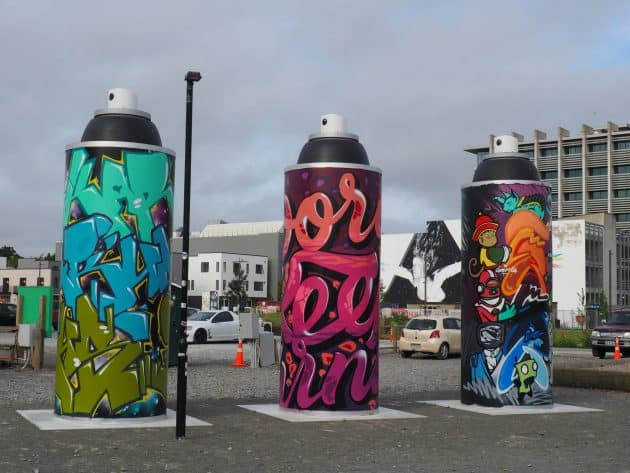 These giant Aerosol cans are part of a group of eight for street artists to