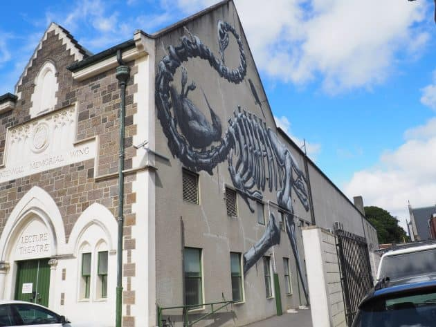 Mural on the wall of the Canterbury Museum in Christchurch by artist ROA