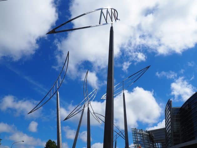 Reasons for Voyaging, Sculpture by Graham Bennett outside the Christchurch Art Gallery