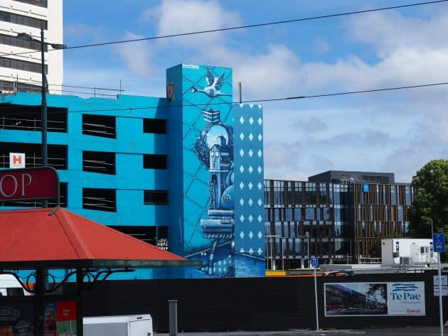 Mural by Jacob Yikes on a car park building at Cathedral Square Christchurch