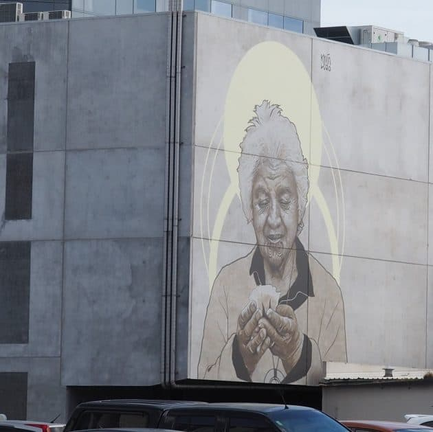 Mural of Whero O Te Rangi Bailey by Kevin Ledo in Christchurch