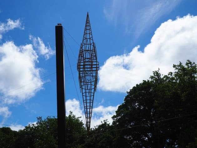sculpture by Neil Dawson attempts to capture the damaged Cathedral spire from memory