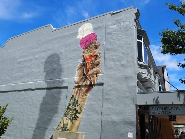 Artwork commissioned by Rollickin Gelato by Wongi Wilson, Christchurch