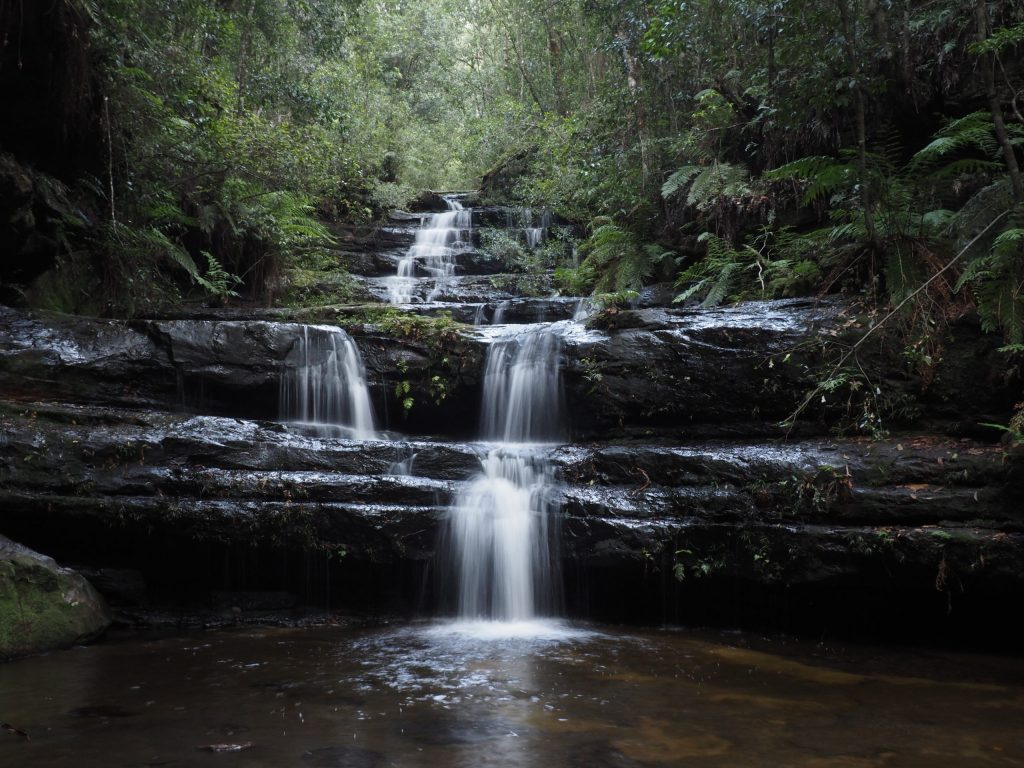 Terrace Falls with less water showing the terraced effect of the rocks, Hazelbrook Blue Mountains