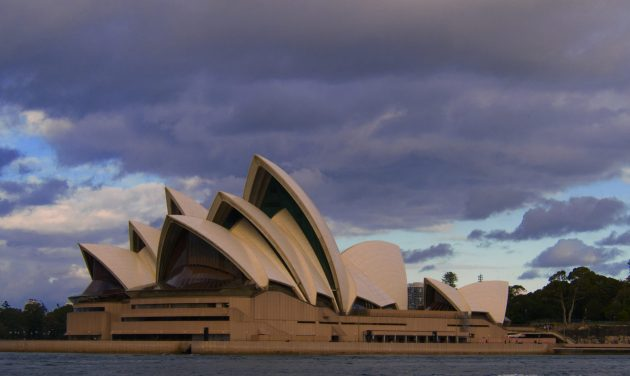 Sydney Opera House as seen from boat on Sydney Harbour