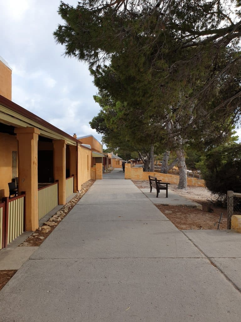 Street lined by colonial buildings on Rottnest Island, Western Australia