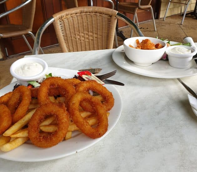 Calamari, chips and salad at the Rottnest Island settlement