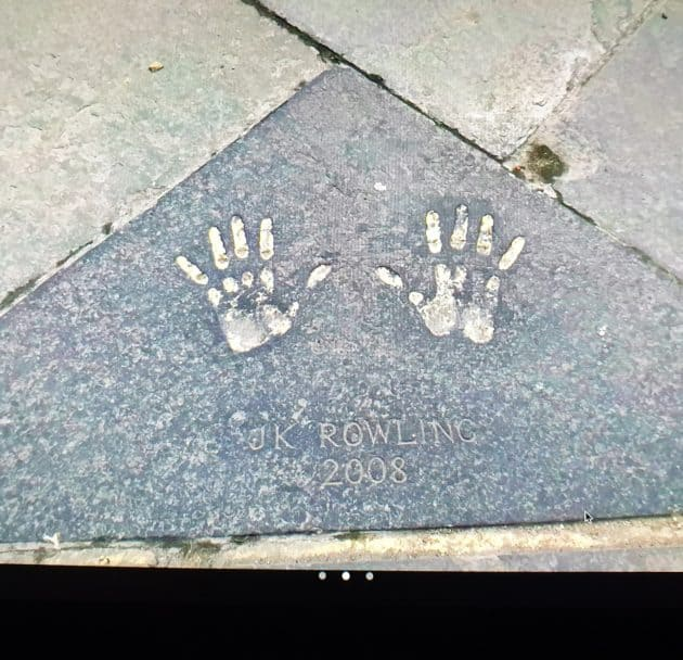 Image of JK Rowling's hand's in cement in Edinburgh