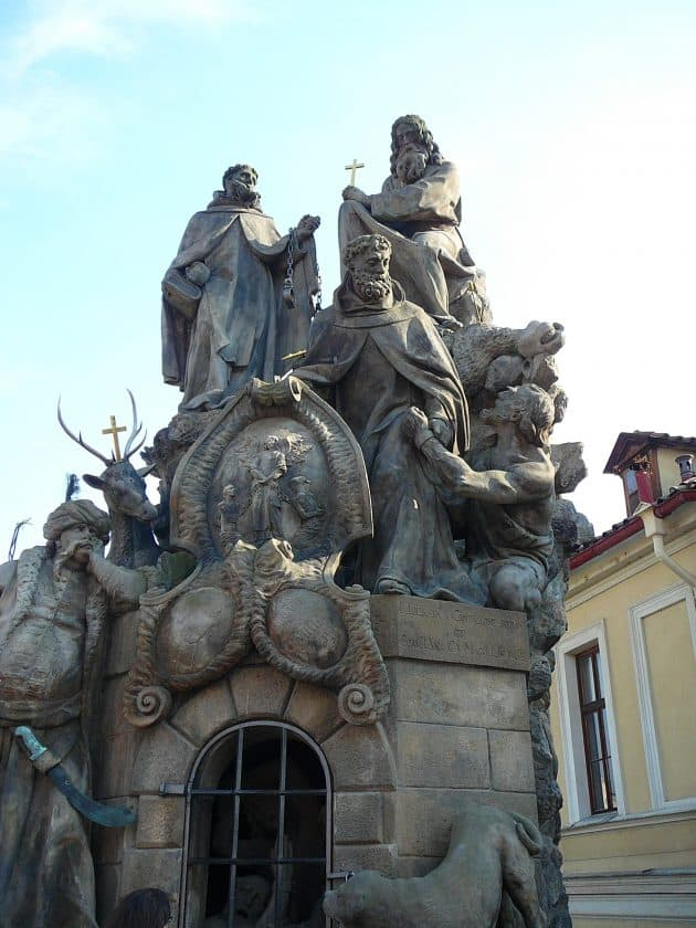 Statue of Saints John of Matha, Felz of Valois and Ivan on the Charles Bridge Prague