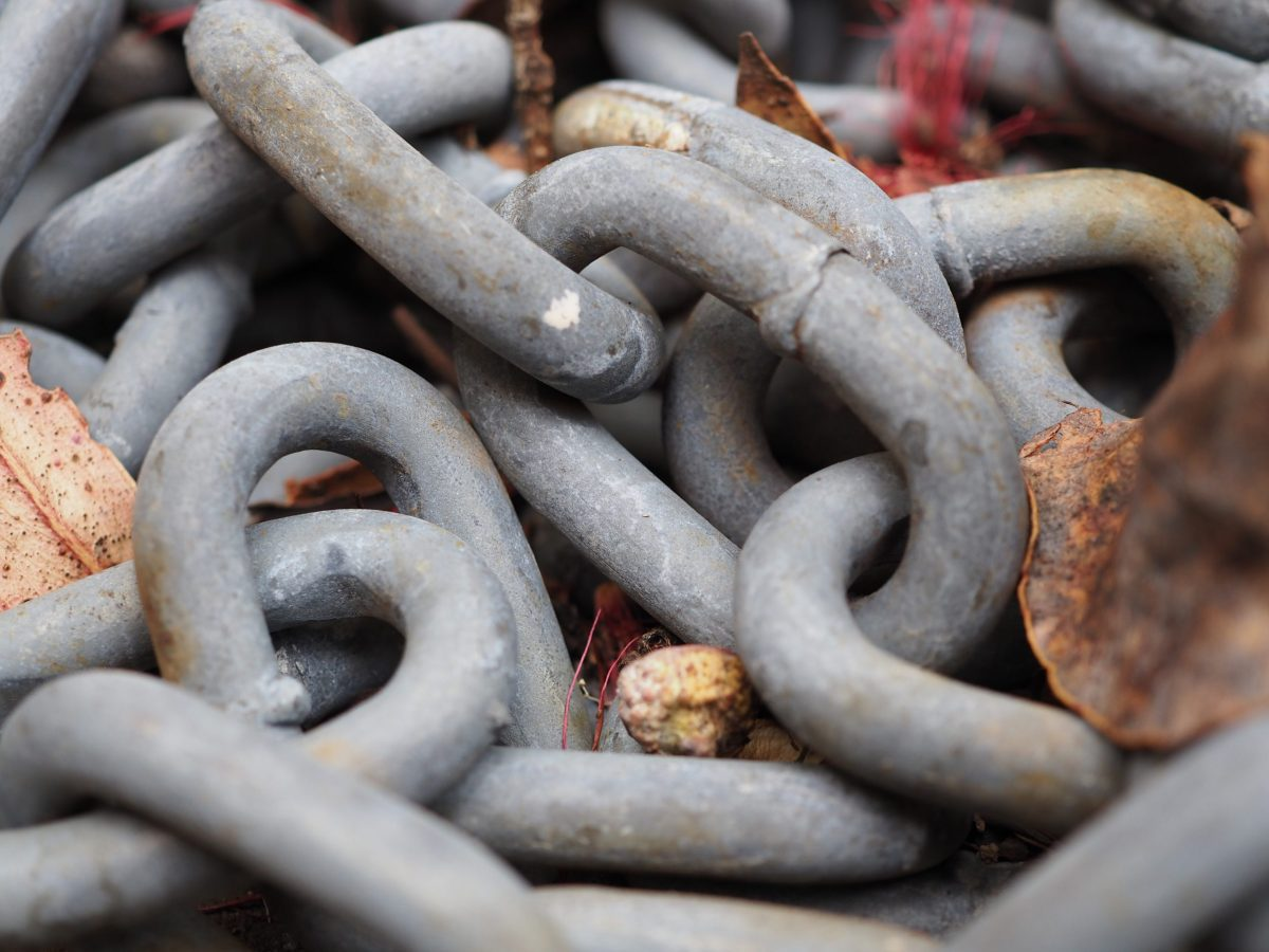Macro image of chain links