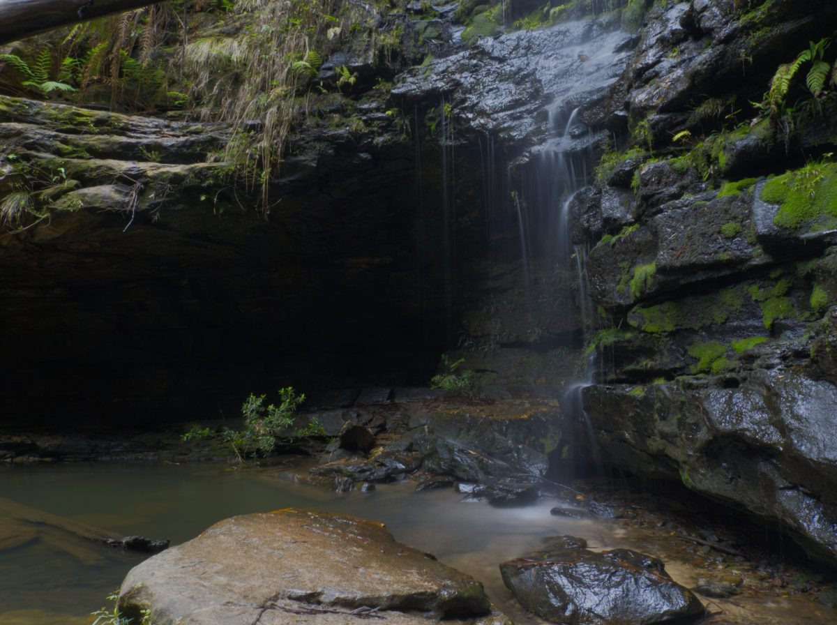 Long exposure image of waterfall in Dante's Glen, Lawson Blue Moutains