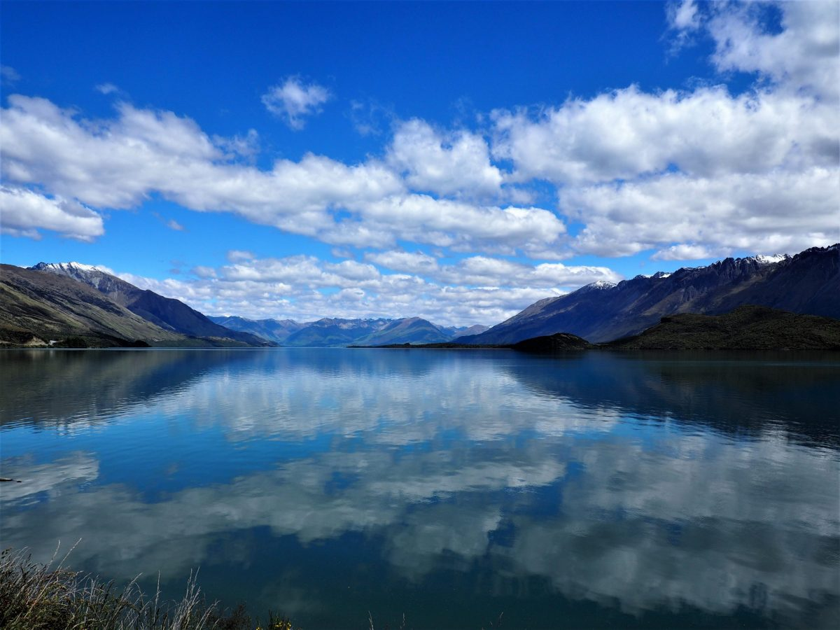 Reflections on Lake Wakatipu, on the road to Glenorchy New Zealand