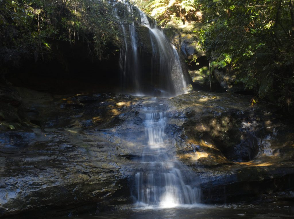 Long exposure image of the first falls on the Horseshoe Falls walking track in Hazelbrook, known to locals as Fairy Falls