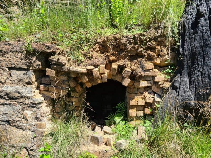 Entrance to old kiln still partially intact near the Mackenzie mine in Mount Victoria