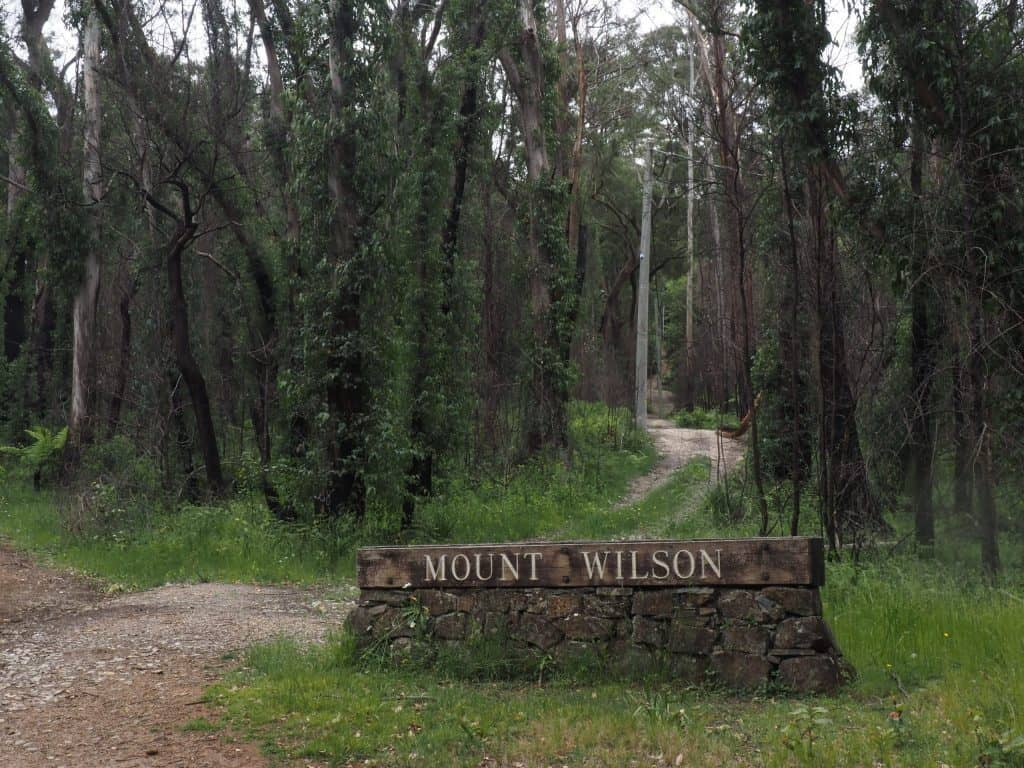 Colour image of the stone monument marking the town of Mount Wilson, with regrowth behind