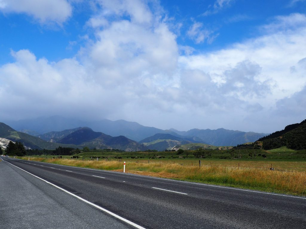 Image of road on New Zealand South Island with field and mountains behind