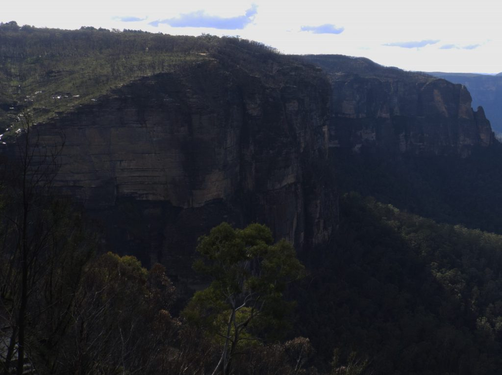 The cliff at Govetts Leap up which the Grose Valley fire roared 6 months after the fire