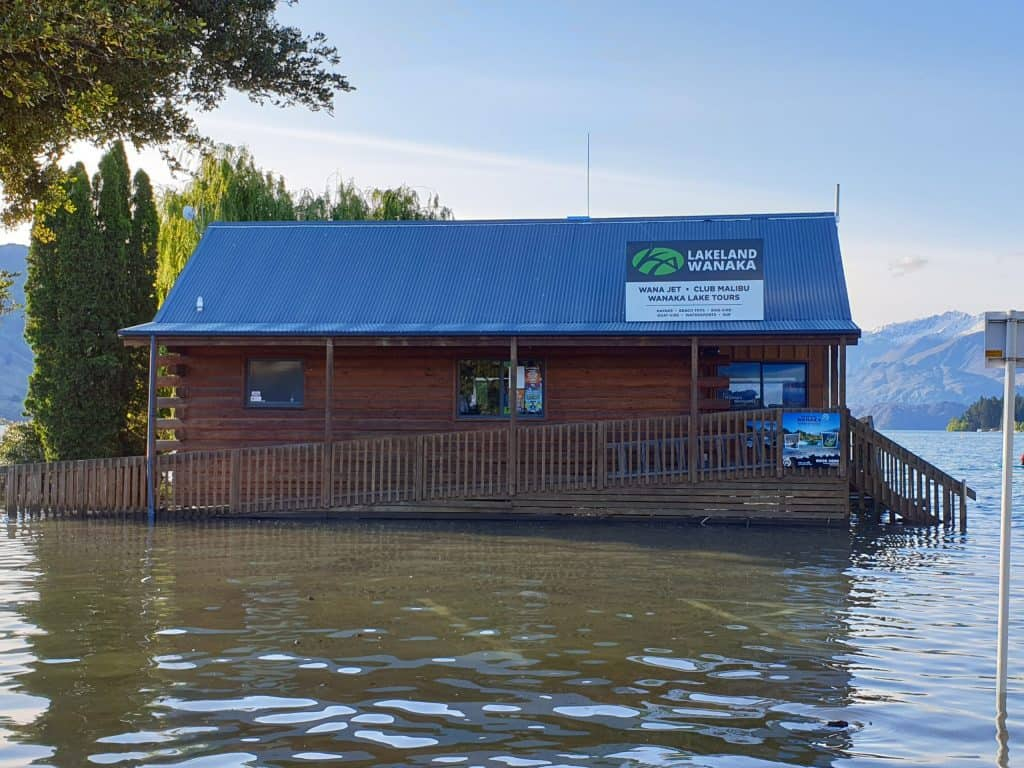 The usually lakefront tourist centre in Wanaka waterlogged and out in the Lake