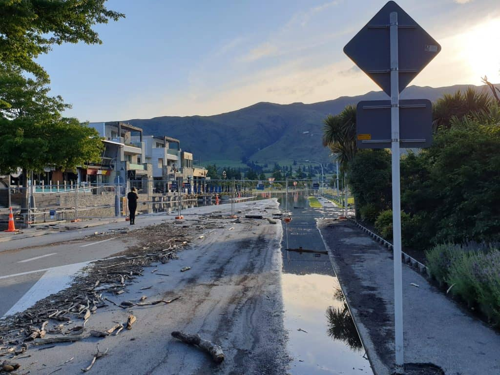 Flooding still present in the streets at Wanaka
