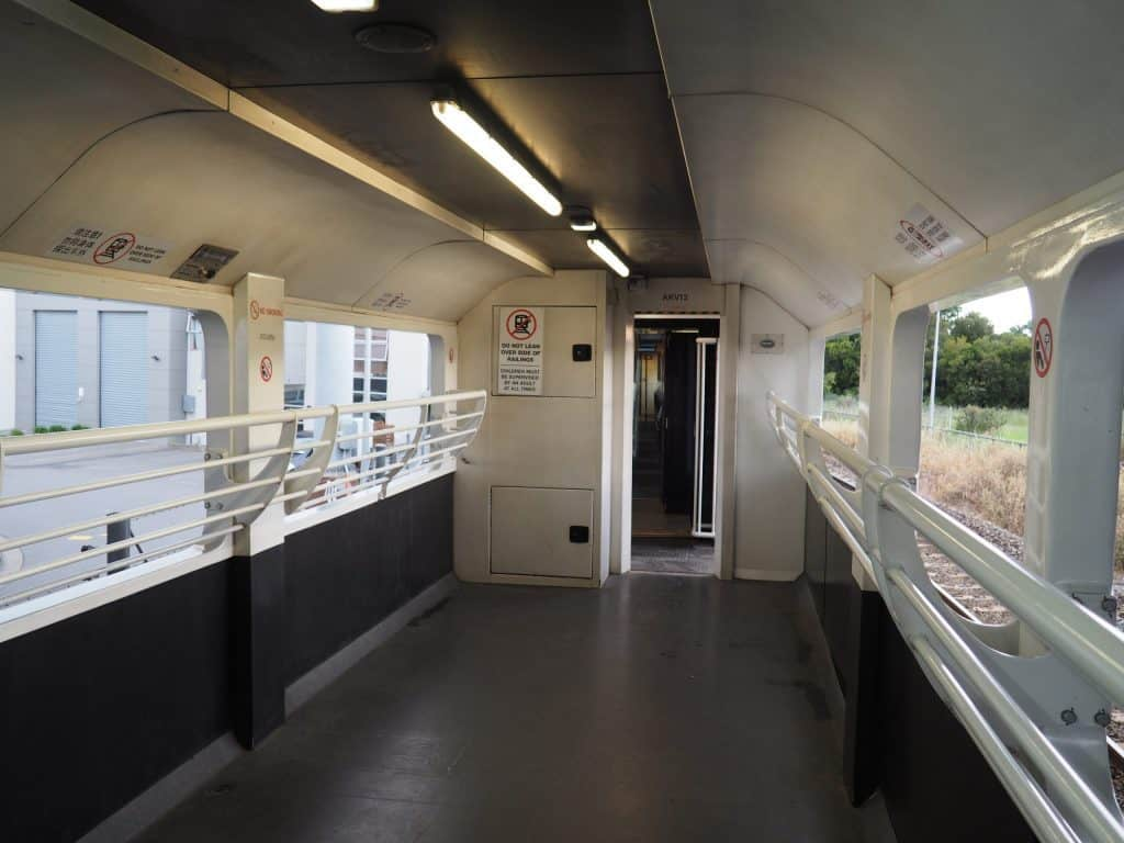 The open carriage on the Tranz Pacific train features glassless windows to enable travellers to have an unobstructed view of the journey