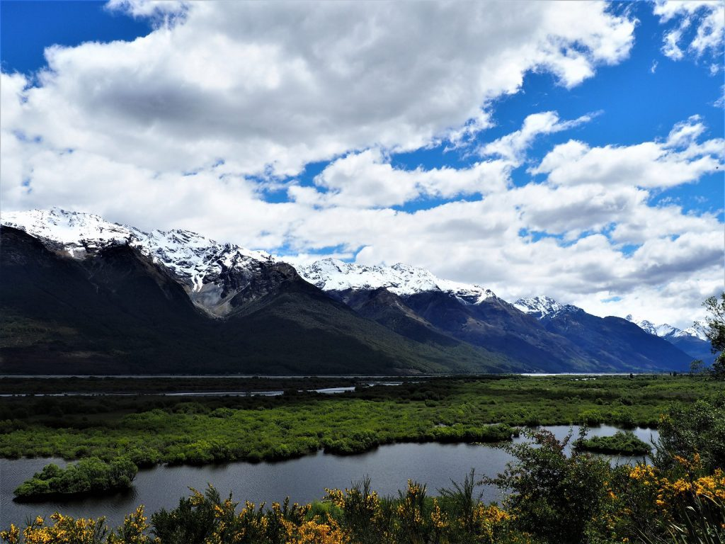 Snow-capped mountains bordering Lake Wakatipu on the road from Queenstown to Glenorchy